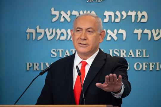 Israeli Prime Minister Benjamin Netanyahu speaks during a briefing today