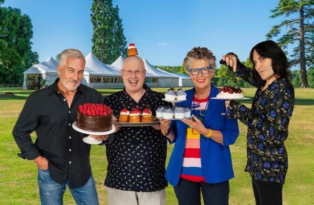 Paul, Matt, Prue and Noel pose wit cakes.