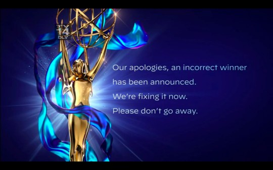 Emmys apologise for announcing wrong winner