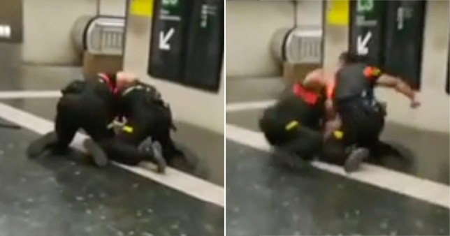The guards were filmed brawling