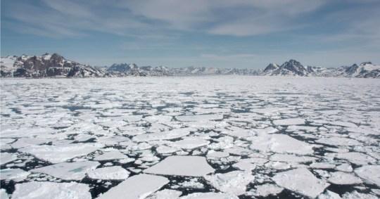La glace de mer se brise au printemps près de Kulusuk, au Groenland.
