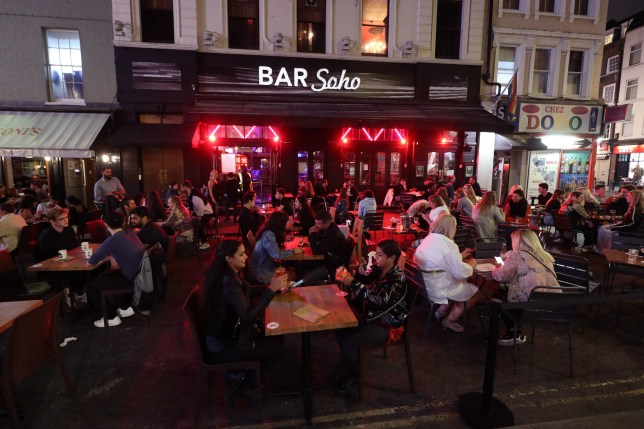 Late-night drinkers after 10pm in Soho, London