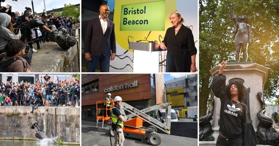 Colston Hall being renamed to Bristol Beacon following anti-racism Black Lives Matter protests which resulted in the statue of Edward Colston being toppled and chucked into the harbour