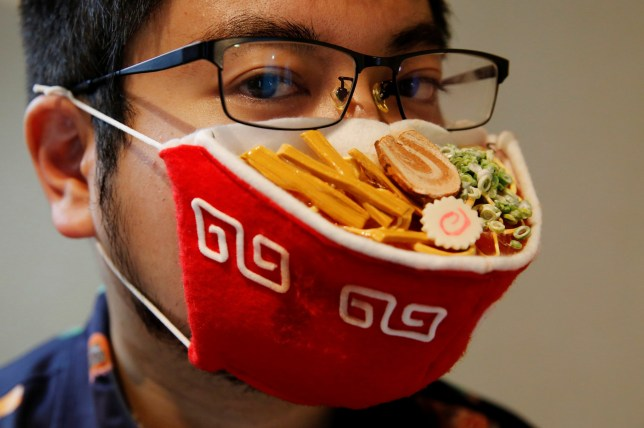 Specs-wearing artist makes noodle bowl face mask to joke about glasses steaming up in PPE