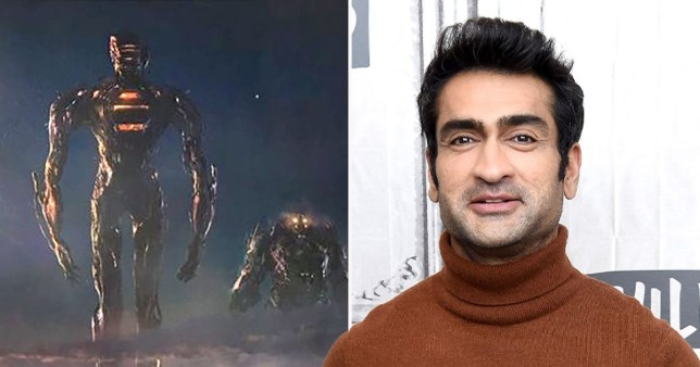 Eternals star Kumail Nanjiani and a still from the upcoming film