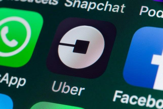 Uber app on smartphone screen