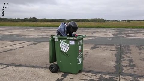 Engineer smashes speed record after hitting 40mph in a wheelie bin