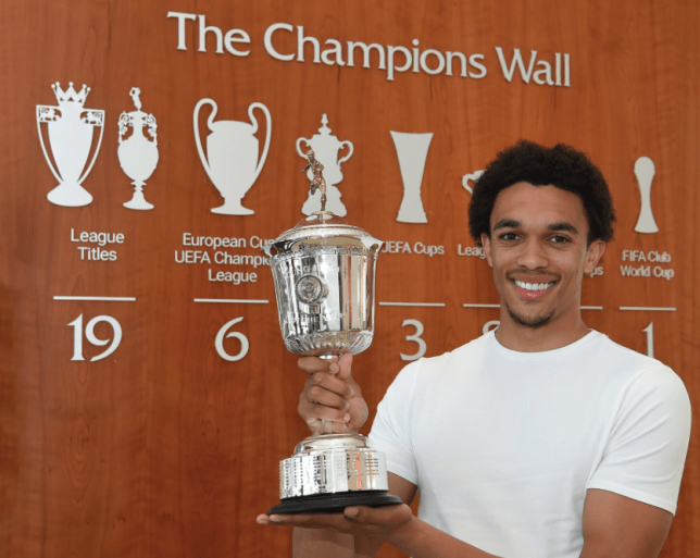 Trent Alexander-Arnold poses with the PFA Player of the Year award
