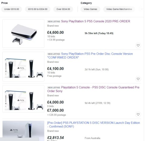 PS5 UK console pre-orders selling for £7000 on eBay | Metro News