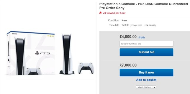 PS5 ebay prices
