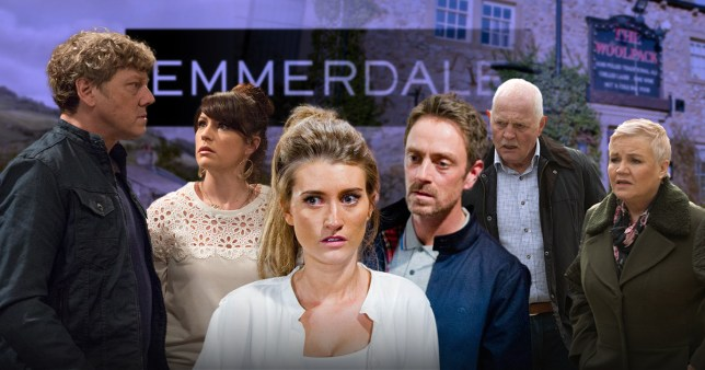Six of the stars from Emmerdale in front of a purple background with the soap's logo.