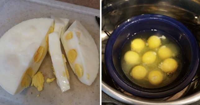 Eggs before and after being boiled