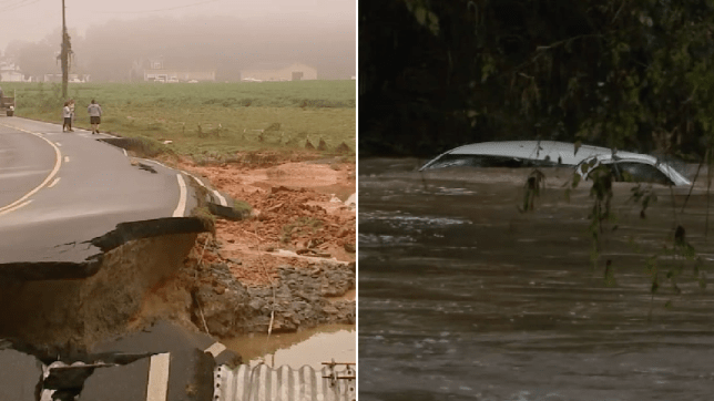 Wrecked road and flooded car swept into a river