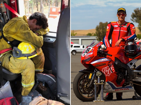 Star motorcycle racer takes break from track to become volunteer firefighter in blaze-hit California