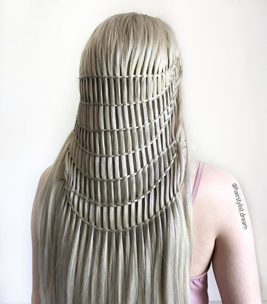 Intricate hairstyle on blonde hair