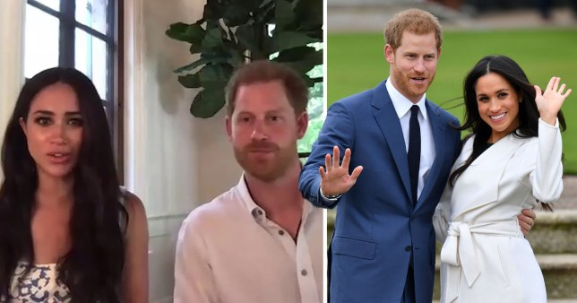 Harry and Meghan on a video call