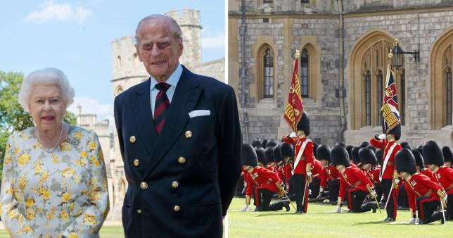 Queen Elizabeth and Prince Philip outside Windsor Castle