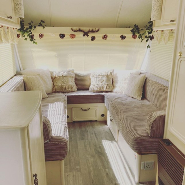 Couple buy and transform 25-year-old caravan for just £1,700