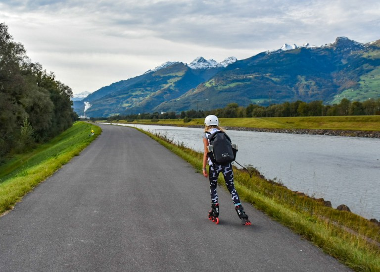 The skating route in Liechtenstein was pretty picturesque with the Rhine river running alongside it (Picture: Sadie Whitelocks)