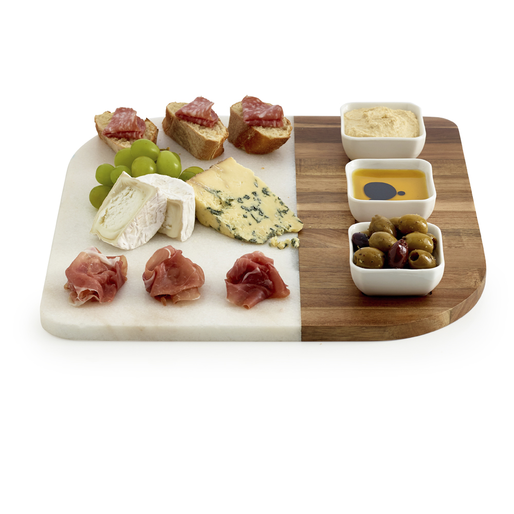 Marble and Acacia Serving Board