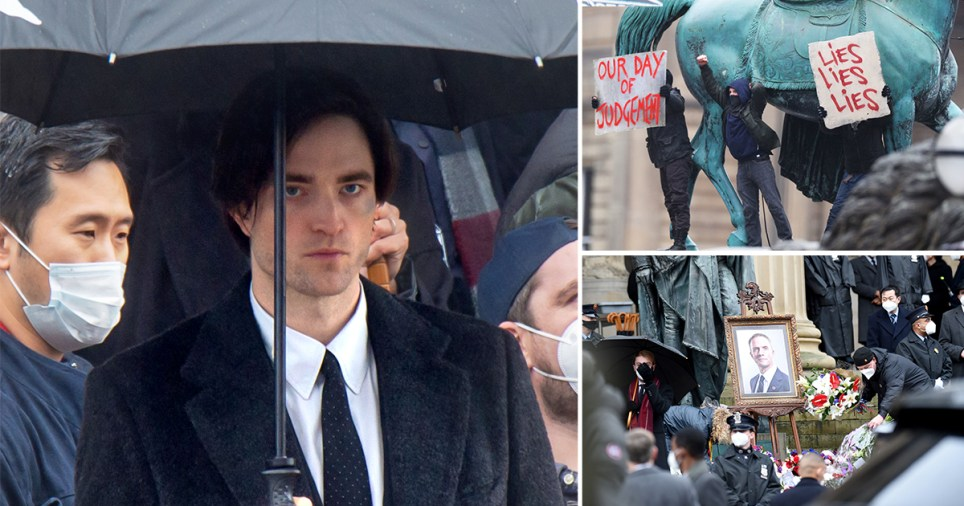 Robert Pattinson is pictured filming the Batman movie at St Georges Hall, Liverpool