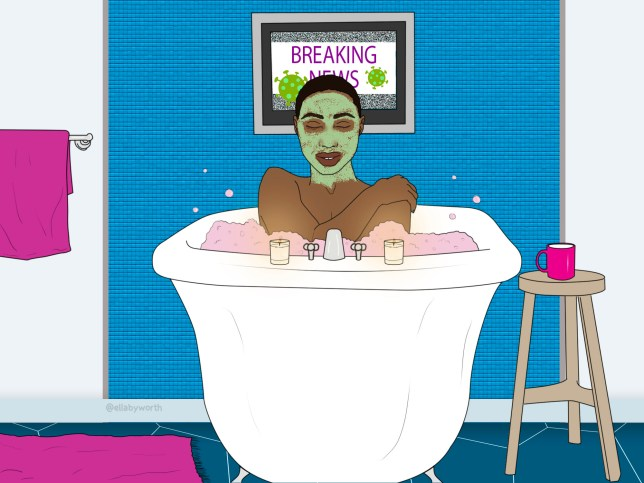 Illustration of a woman in a bath