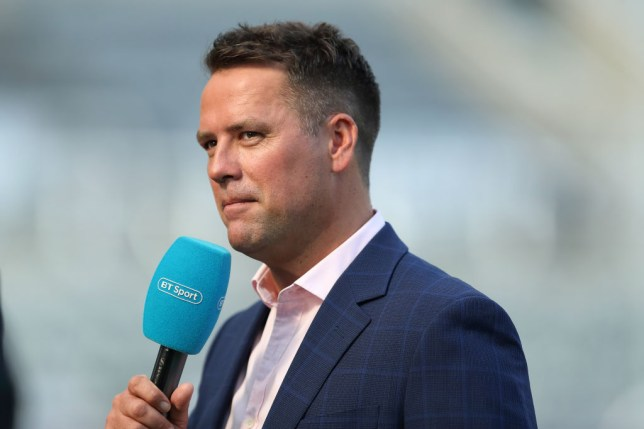 Michael Owen working for BT Sport during the Premier League match between Newcastle United and Southampton FC at St. James Park on April 20, 2019 in Newcastle upon Tyne, United Kingdom.