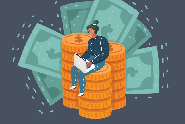 Business woman with money and laptop, sitting on pile of money