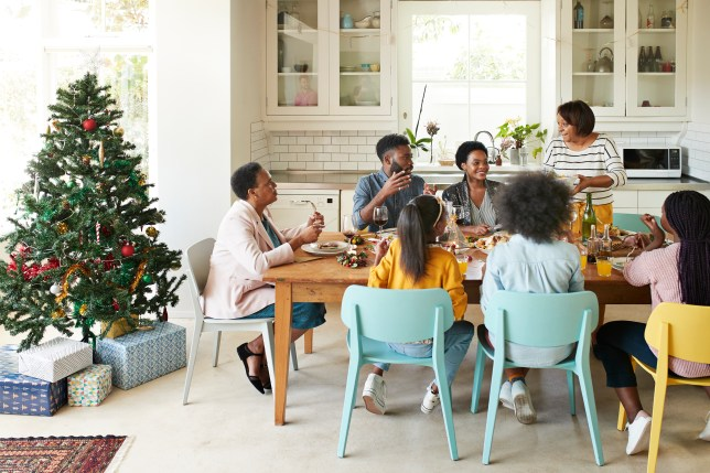 Family and friends talking while enjoying Christmas dinner.