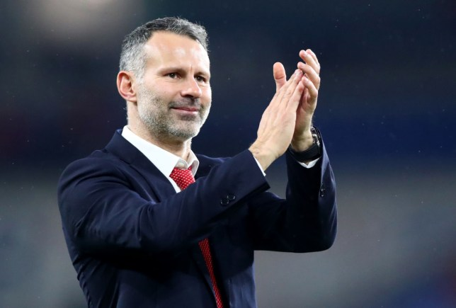 Wales Manager Ryan Giggs celebrates after winning the UEFA Euro 2020 qualifier between Wales and Hungary so at Cardiff City Stadium on November 19, 2019 in Cardiff, Wales.