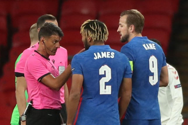 Reece James was sent off after full-time as Denmark beat England