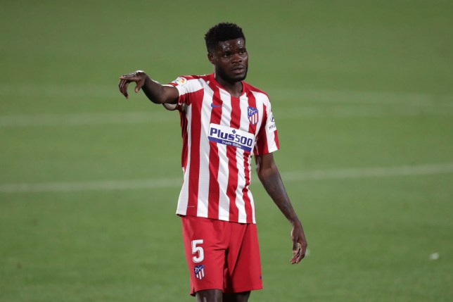 Arsenal signing Thomas Partey looks on during Atletico Madrid's clash with Getafe