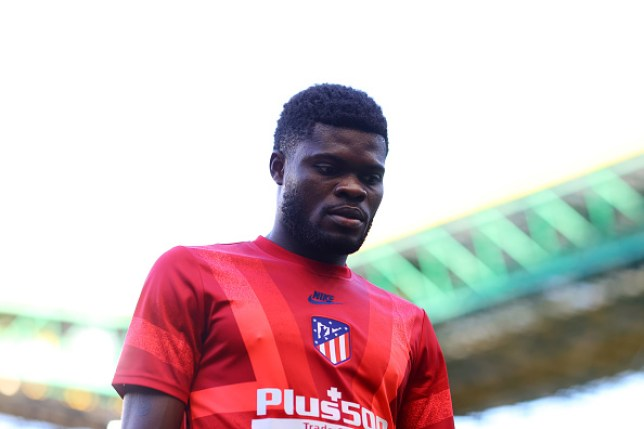 Arsenal new boy Thomas Partey looks on during Atletico Madrid's Champions League clash with Leipzig