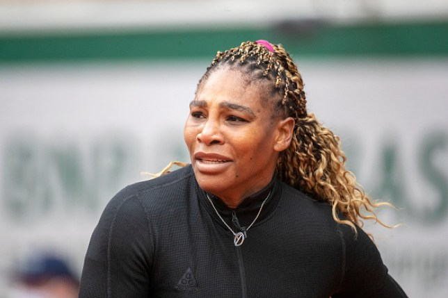 Serena Williams of the United States reacts during her match against Kristie Ahn of the United States in the first round of the singles competition on Court Philippe-Chatrier during the  French Open Tennis Tournament at Roland Garros on September 28th 2020 in Paris, France.