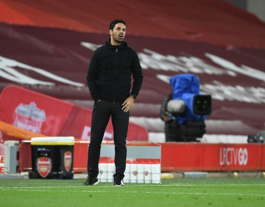 Arsenal manager Mikel Arteta during the Carabao Cup fourth round match between Liverpool and Arsenal at Anfield on October 01, 2020 in Liverpool, England. Football Stadiums around United Kingdom remain empty due to the Coronavirus Pandemic as Government social distancing laws prohibit fans inside venues resulting in fixtures being played behind closed doors.