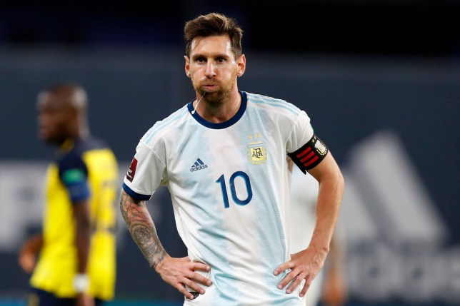 Lionel Messi of Argentina looks on during a match between Argentina and Ecuador as part of South American Qualifiers for Qatar 2022 at Estadio Alberto J. Armando on October 08, 2020 in Buenos Aires, Argentina.
