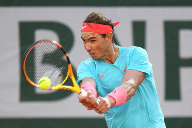 Rafael Nadal of Spain plays a backhand during his Men's Singles semifinals match against Diego Schwartzman of Argentina on day thirteen of the 2020 French Open at Roland Garros on October 09, 2020 in Paris, France.