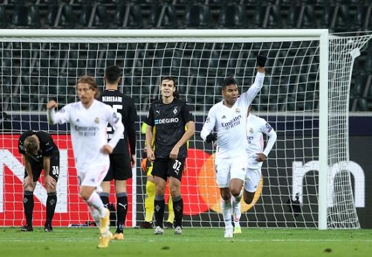 Casemiro célèbre son égalité contre le Borussia Moenchengladbach