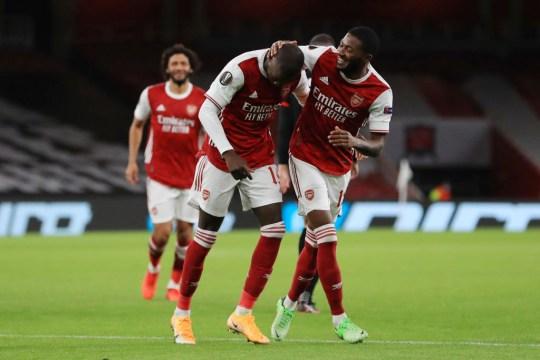 Nicolas Pepe célèbre son but pour Arsenal contre Dundalk