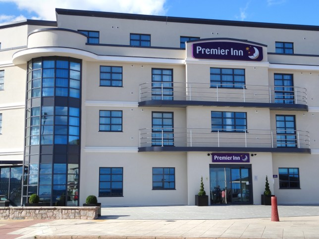 Image of seafront Premier Inn Exmouth Hotel.