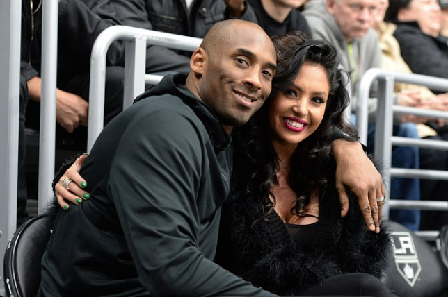 LA Lakers legend Kobe Bryant and Vanessa Bryant look on as Washington Capitals take on Los Angeles Kings