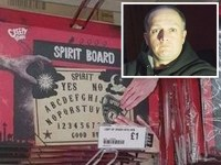 Composition with photo of ghost hunter and ouija board