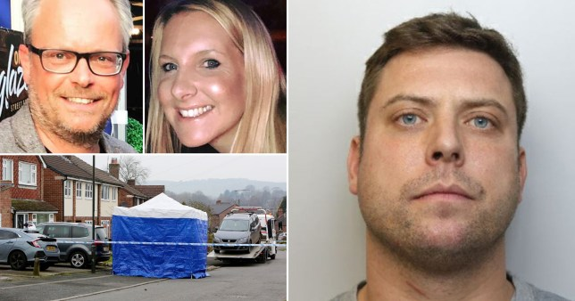 Composite image of killer Rhys Hancock, his estranged wife Helen Hancock, her lover Martin Griffiths and the marital home in Duffield Derbyshire