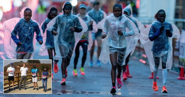 Runners running the London Marathon; inset Prince Harry