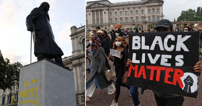 The statue of Winston Churchill was graffitied during protests over the summer