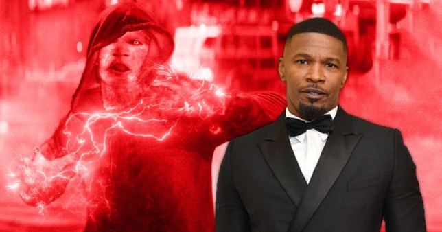 Jamie Foxx pictured alongside his Spider-Man character Electro