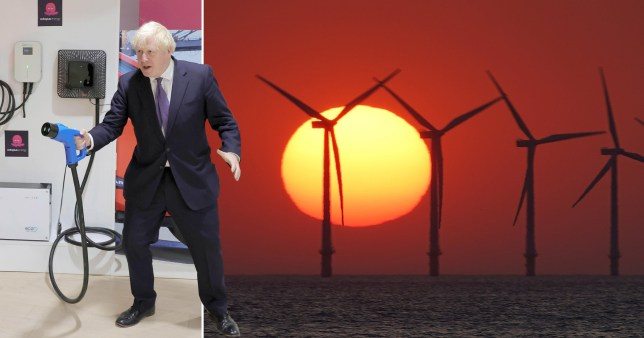 Boris Johnson next to a picture of wind farms.