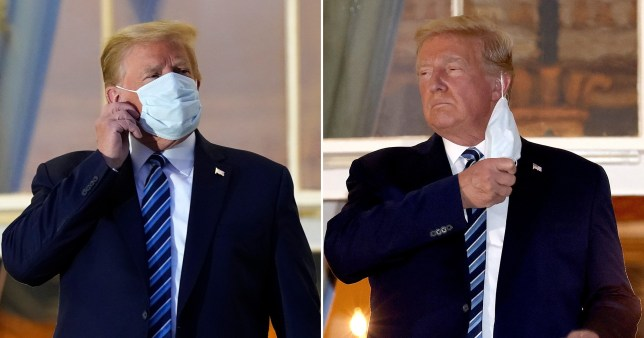 Donald Trump removed his face mask as he returned home to the White House three days after being rushed to hospital with coronavirus