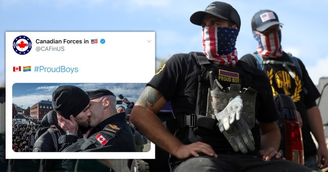 Canadian Forces in the US share a picture of two men kissing on Twitter (left) next to a picture of two members of the far-right group Proud Boys