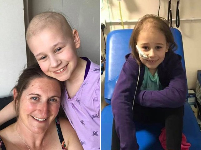 Mum with her daughter in cancer treatment at the hospital